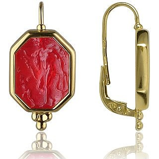 Classics Collection - Red 18K Gold Drop Earrings - Tagliamonte