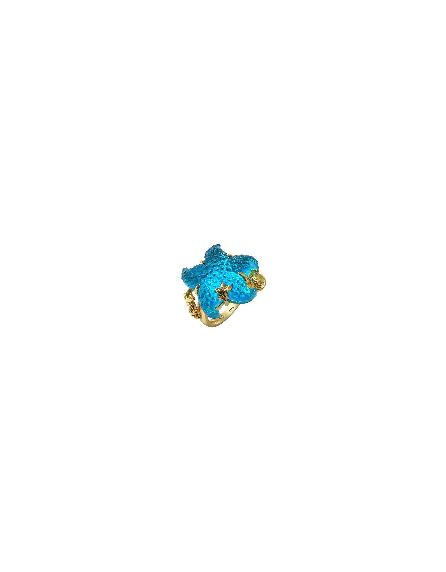 Marina Collection - Anello in oro 18ct con stella marina blu