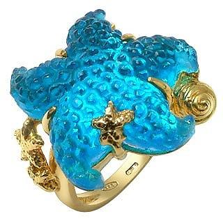 Marina Collection - Blue Starfish 18K Gold Ring - Tagliamonte