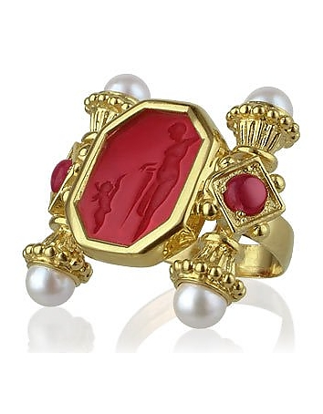 Classics Collection - Pearls & Rubies 18K Gold Ring