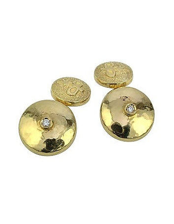 18K Yellow Gold Diamond Cufflinks