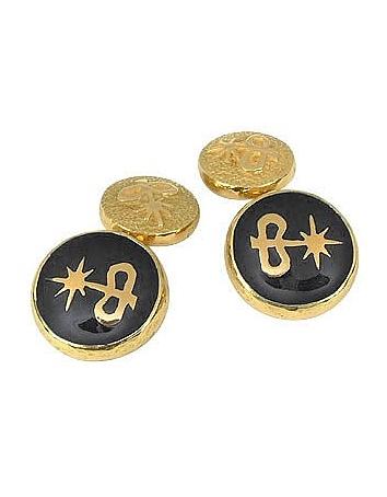 Torrini - Black Enamel 18K Gold Logo Cufflinks