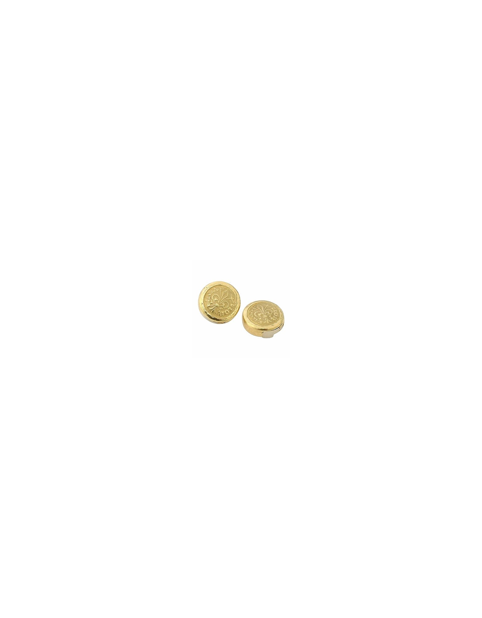 Torrini Button Covers, Fiorino - Fleur-de-Lis 18K Yellow Gold Button Covers