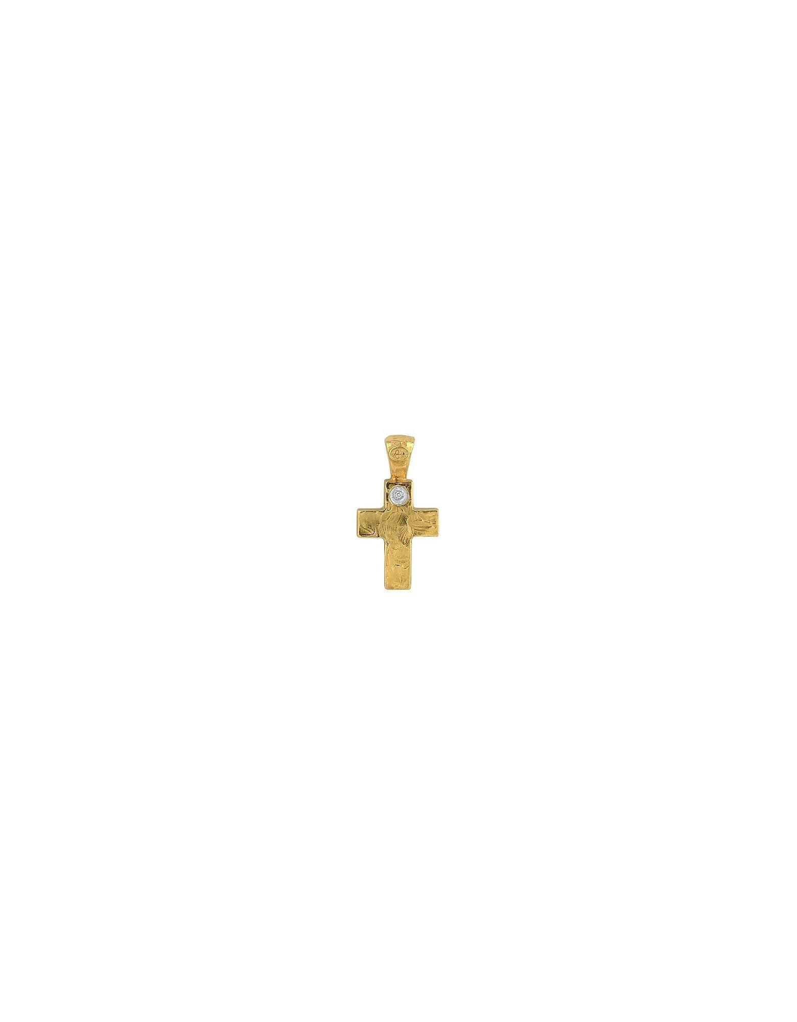 Torrini Necklaces, 18K Yellow Gold Cross with Diamond