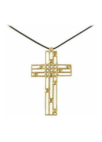 Flow - Sapphire & Yellow Gold Cross - Torrini