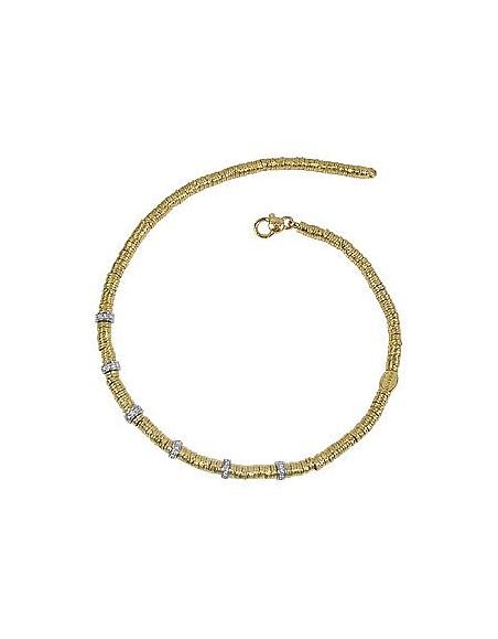 Torrini Rondelles larges - Collier or jaune 750/1000 et diamants