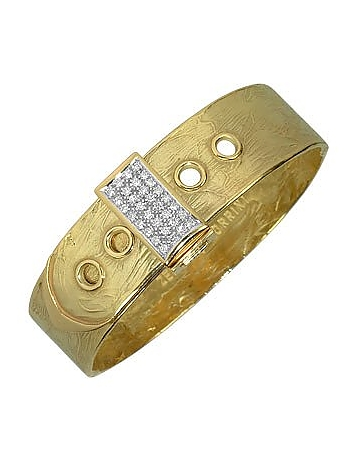 Torrini - Zero - 18K Yellow Gold and Diamond Pave Cuff Bracelet