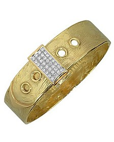 Zero - 18K Yellow Gold and Diamond Pave Cuff Bracelet - Torrini