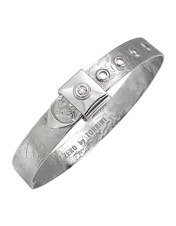 Zero - 18k White Gold and Diamond Bangle Bracelet
