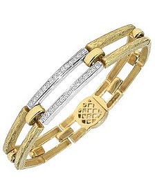 Beatrice - Gold and Diamond Rectangular Link Bracelet - Torrini