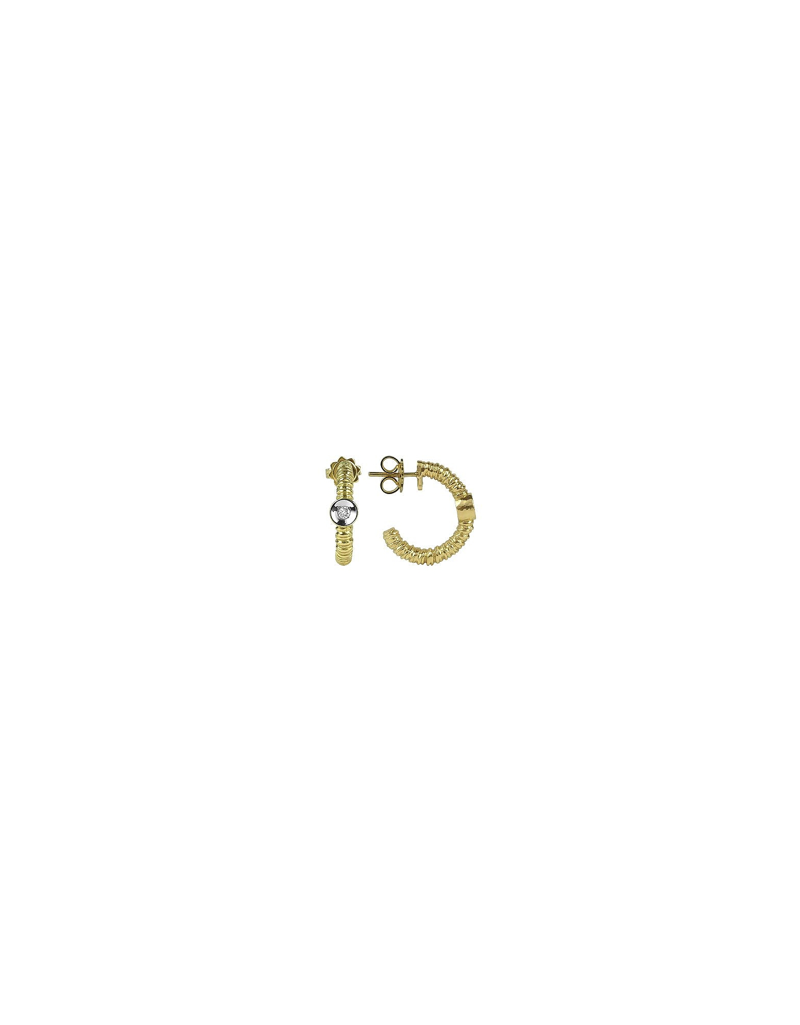 Torrini Earrings, Rondelle - 18K Gold and Diamond Earrings