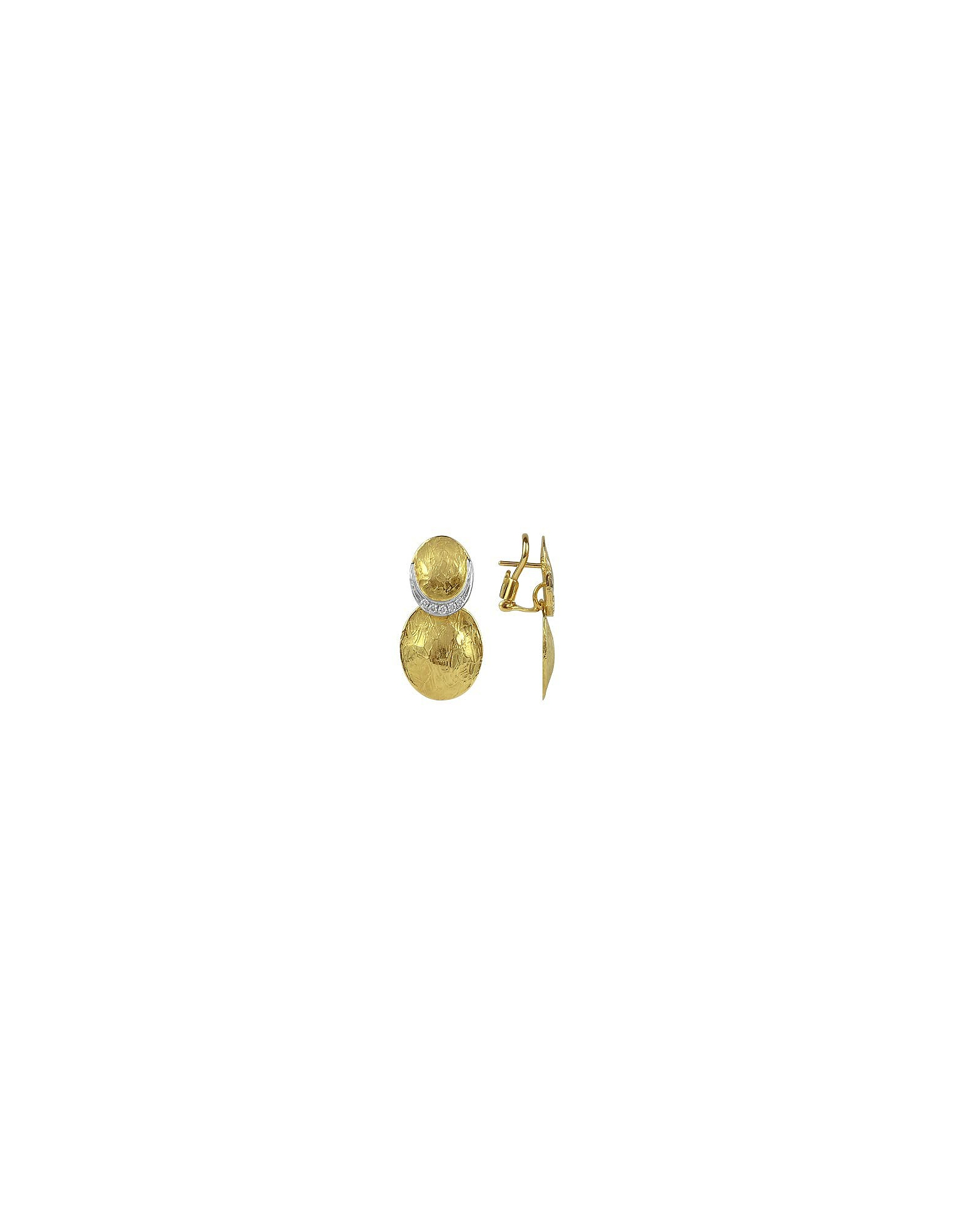 Torrini Earrings, Lenticchie - 18K Gold and Diamond Earrings