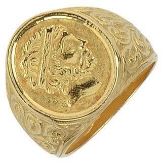 Socrates - Engraved Oval Yellow Gold Men's Ring