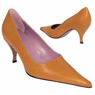Caramel Calfskin Leather Pointy Pump Shoes - Borgo degli Ulivi