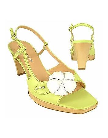 Flower Pistachio Platform Leather Sandal Shoes