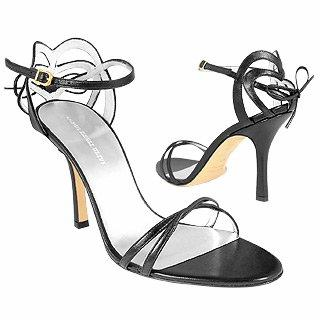 Black Strappy High-heel Leather Sandal Shoes Sandal