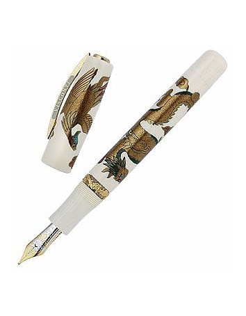 Visconti - Dragon & Phoenix Maki-e Limited Edition Ivory Celluloid Fountain Pen