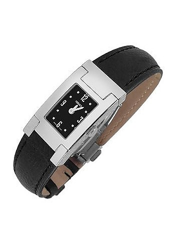 On Fifth -Ladies' Black Leather Watch - Versace