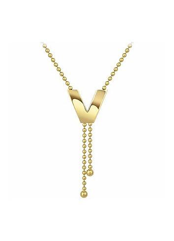 """V Line - 18k Yellow Gold """"V"""" Pendant - Versace"""