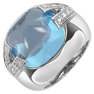 V-Oval - Topaz and Diamonds White Gold Ring  - Versace