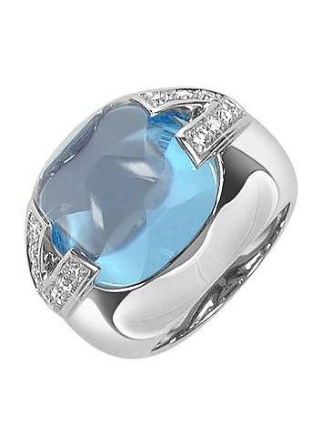 V-Oval - Topaz and Diamonds White Gold Ring  - Versace