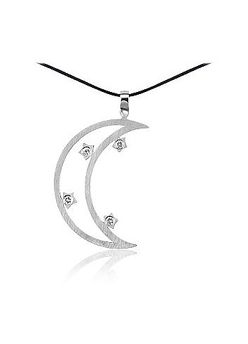 Moon Stainless Steel and Zircon Pendant w / Lace - Zable