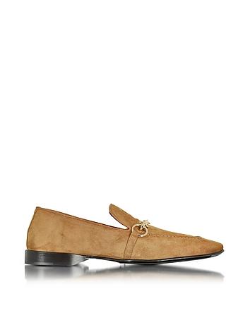Cognac Suede Loafer Shoe