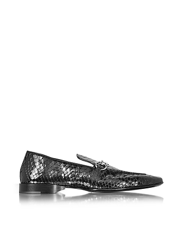 Black Python Leather Loafer