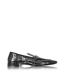 Black Python Leather Loafer  - Cesare Paciotti
