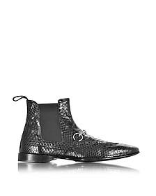 Black Python Leather Low Boot - Cesare Paciotti