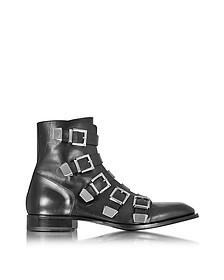 Black Leather Combat Boots - Cesare Paciotti