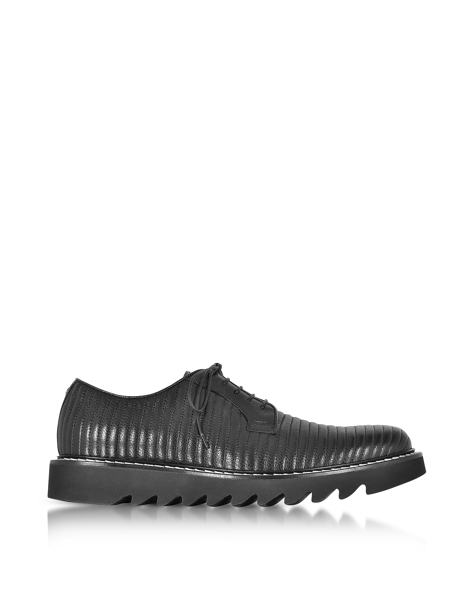Cesare Paciotti Shoes, Black Quilted Leather Lace up Shoes