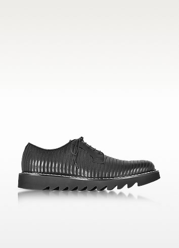 Black Quilted Leather Lace up Shoes - Cesare Paciotti