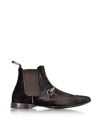 Cesare Paciotti - Dark Brown Velvet Boots
