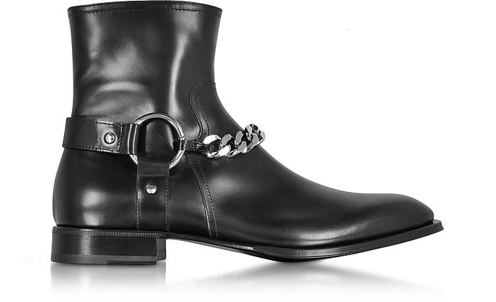 CESARE PACIOTTI BLACK BABY HORSE BOOTS W/CHAIN