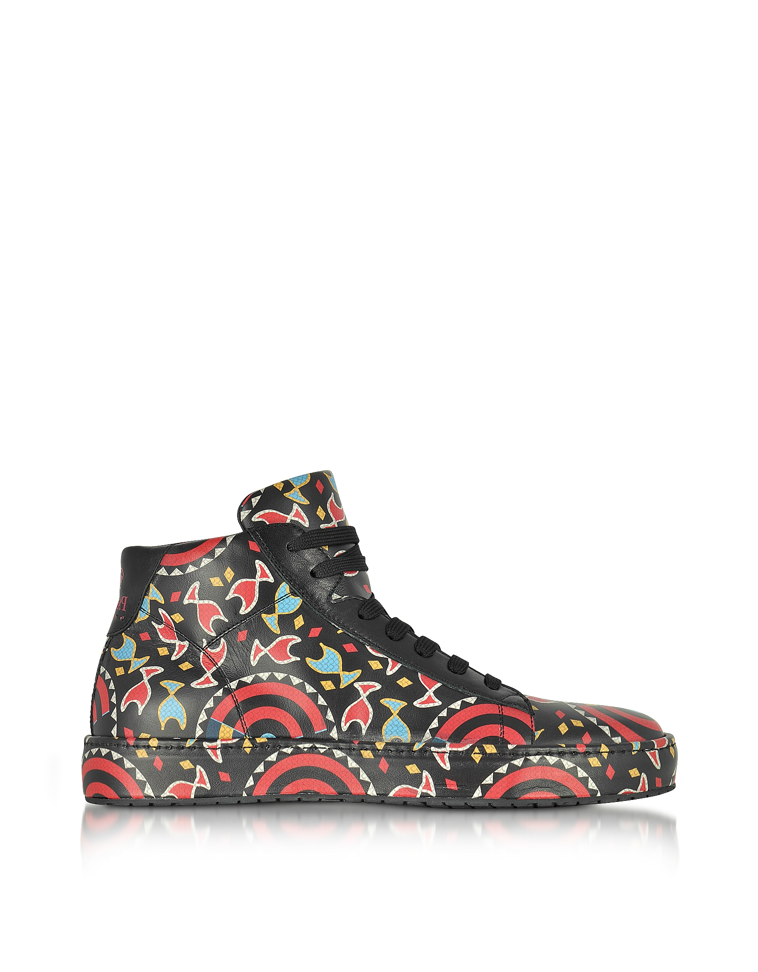 Cesare Paciotti Shoes, Multicolor Printed Leather High Top Men's Sneakers