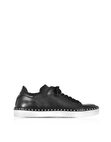 Cesare Paciotti - Black Aged Leather Men's Sneakers w/Studs