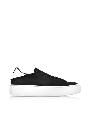Cesare Paciotti - Black Suede Low Top Sneakers w/White Rubber Sole