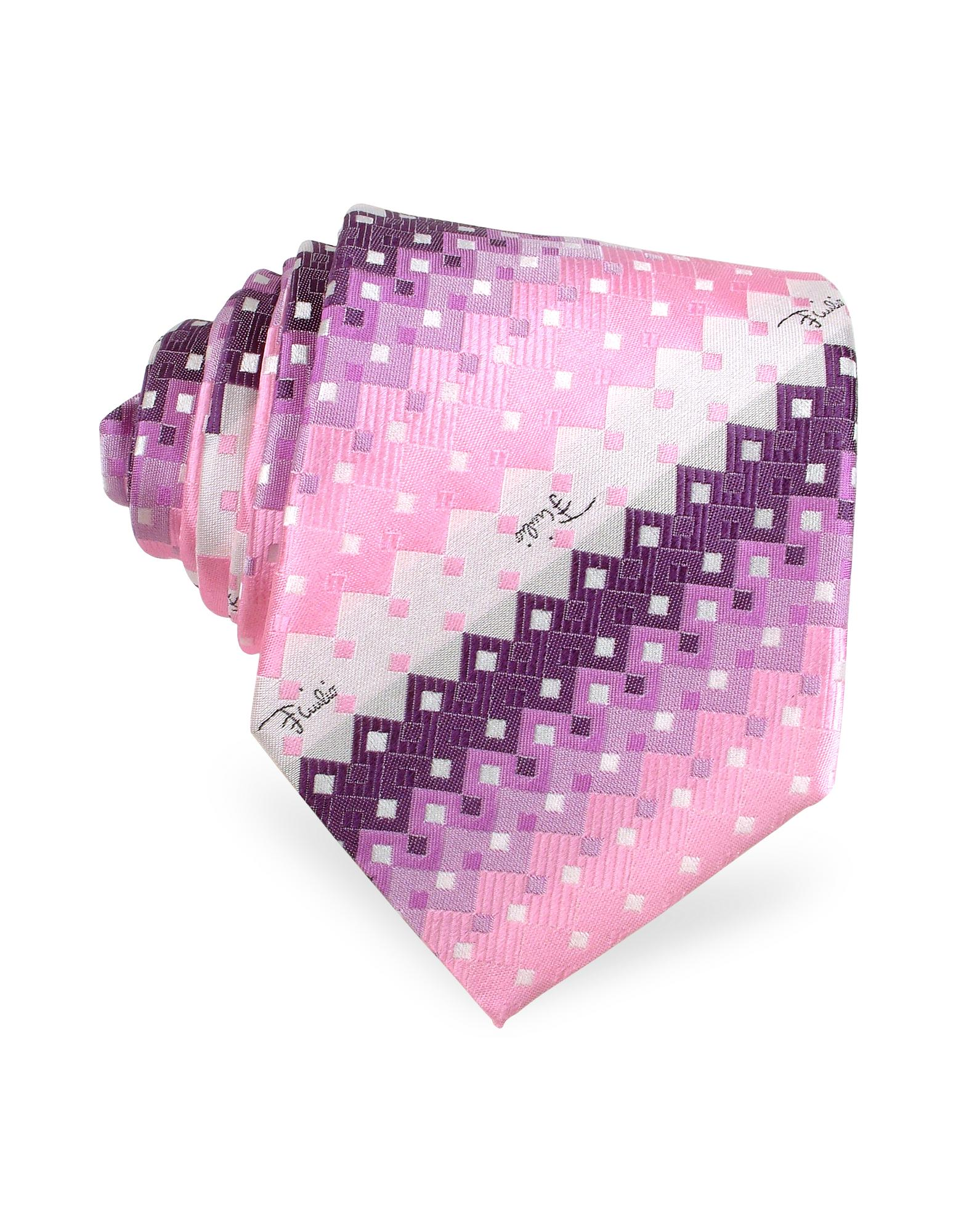 Emilio Pucci  Geometric Square Patterned Silk Tie
