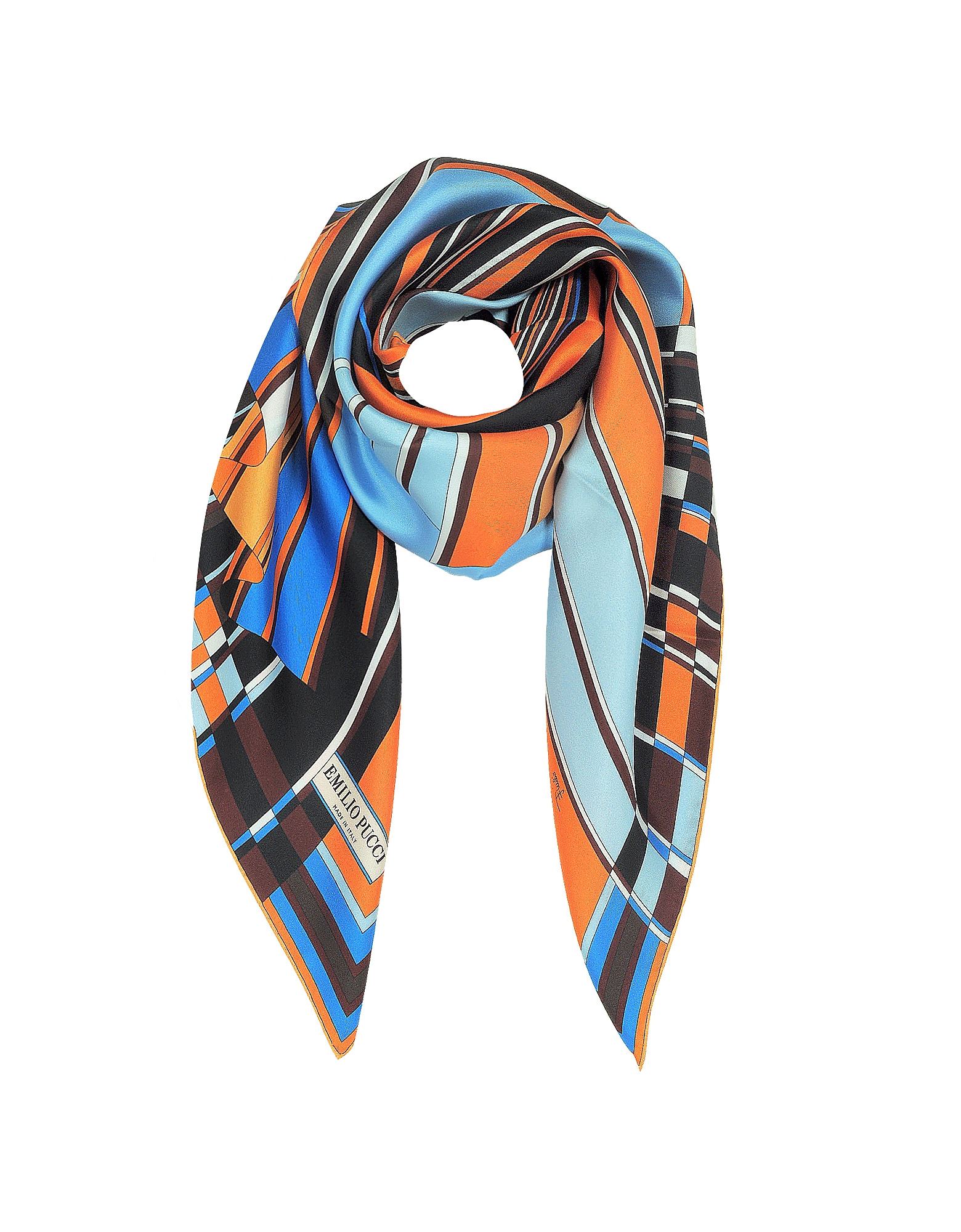 Vortici - Оранжевый и Синий Шелковый Шарф с Принтом