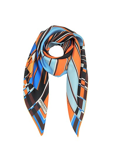 Orange and Blue Vortici Print Silk Scarf - Emilio Pucci