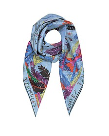 Light Blue Bermuda Print Silk Square Scarf - Emilio Pucci
