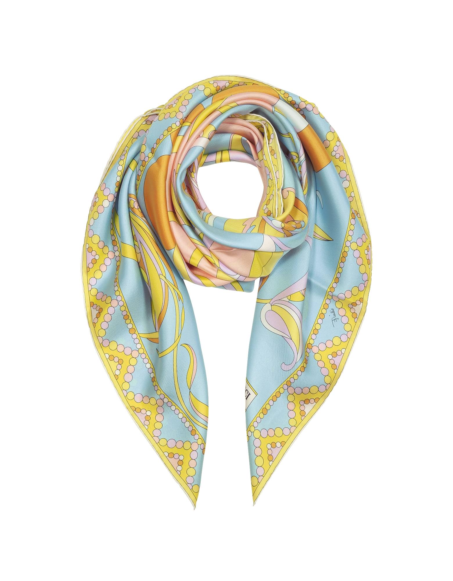 Emilio Pucci Square Scarves, Light Blue Floral Print Twill Silk Square Scarf