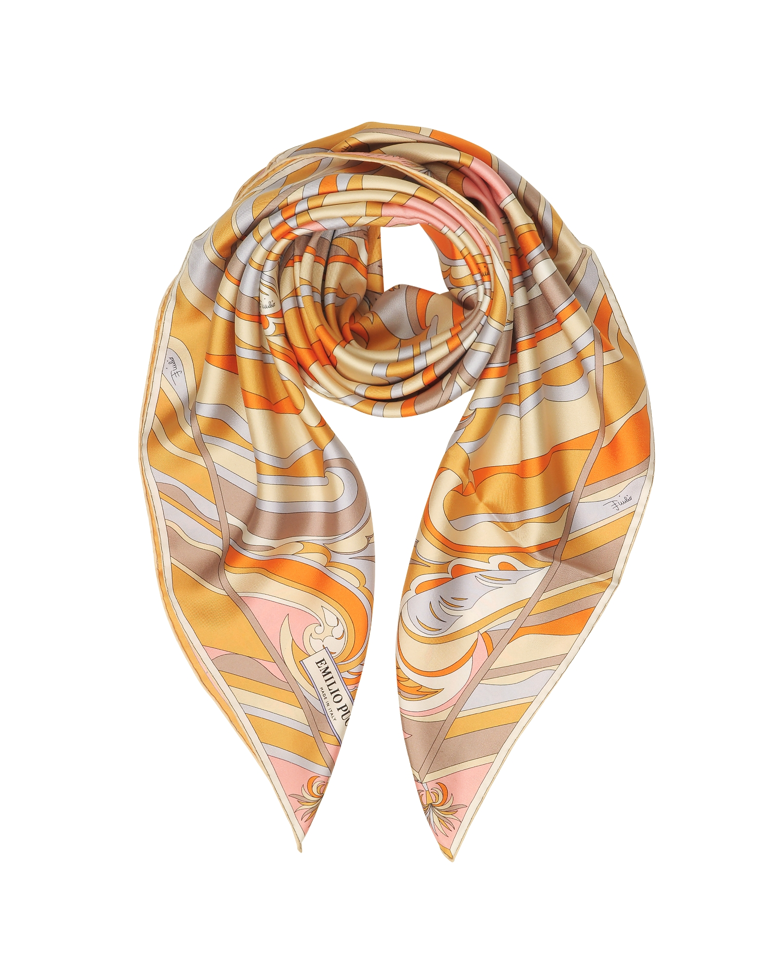 Floral Printed Twill Silk Square Scarf