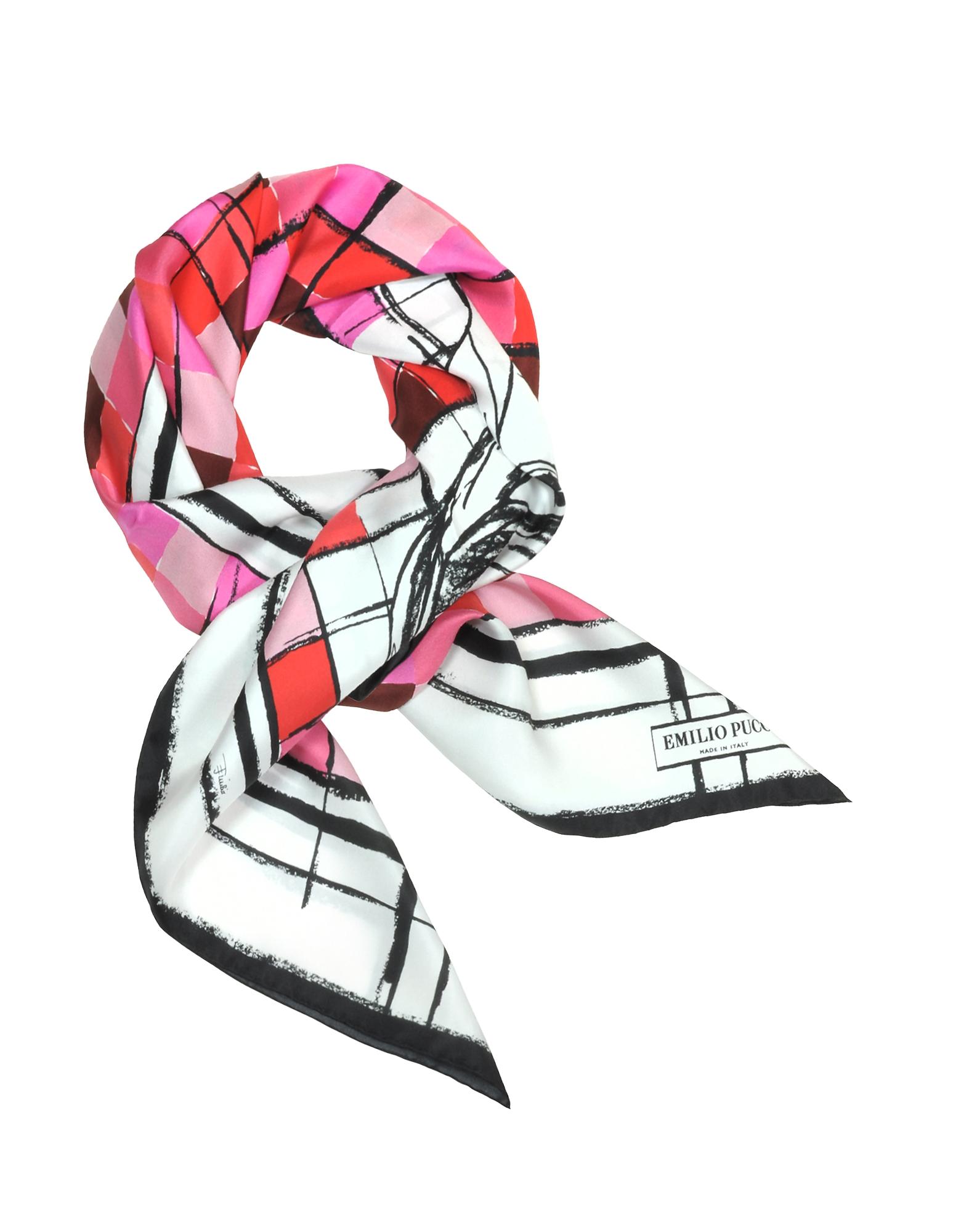 Шелковая Косынка с Принтом в Клетку с Логотипами