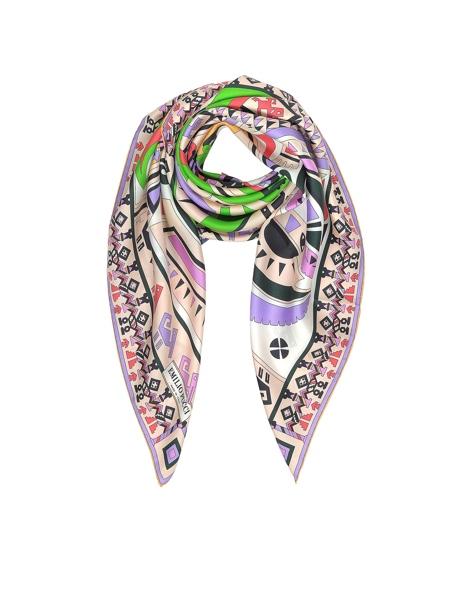 Peony and Green Inca Print Silk Square Scarf