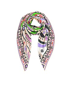 Peony and Green Inca Print Silk Square Scarf - Emilio Pucci