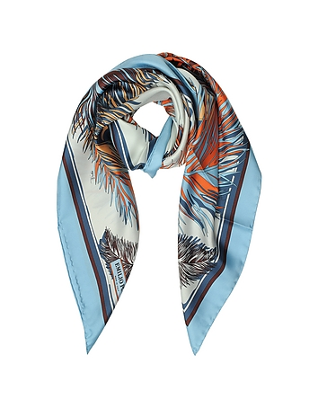Feathers Print Silk Square Scarf