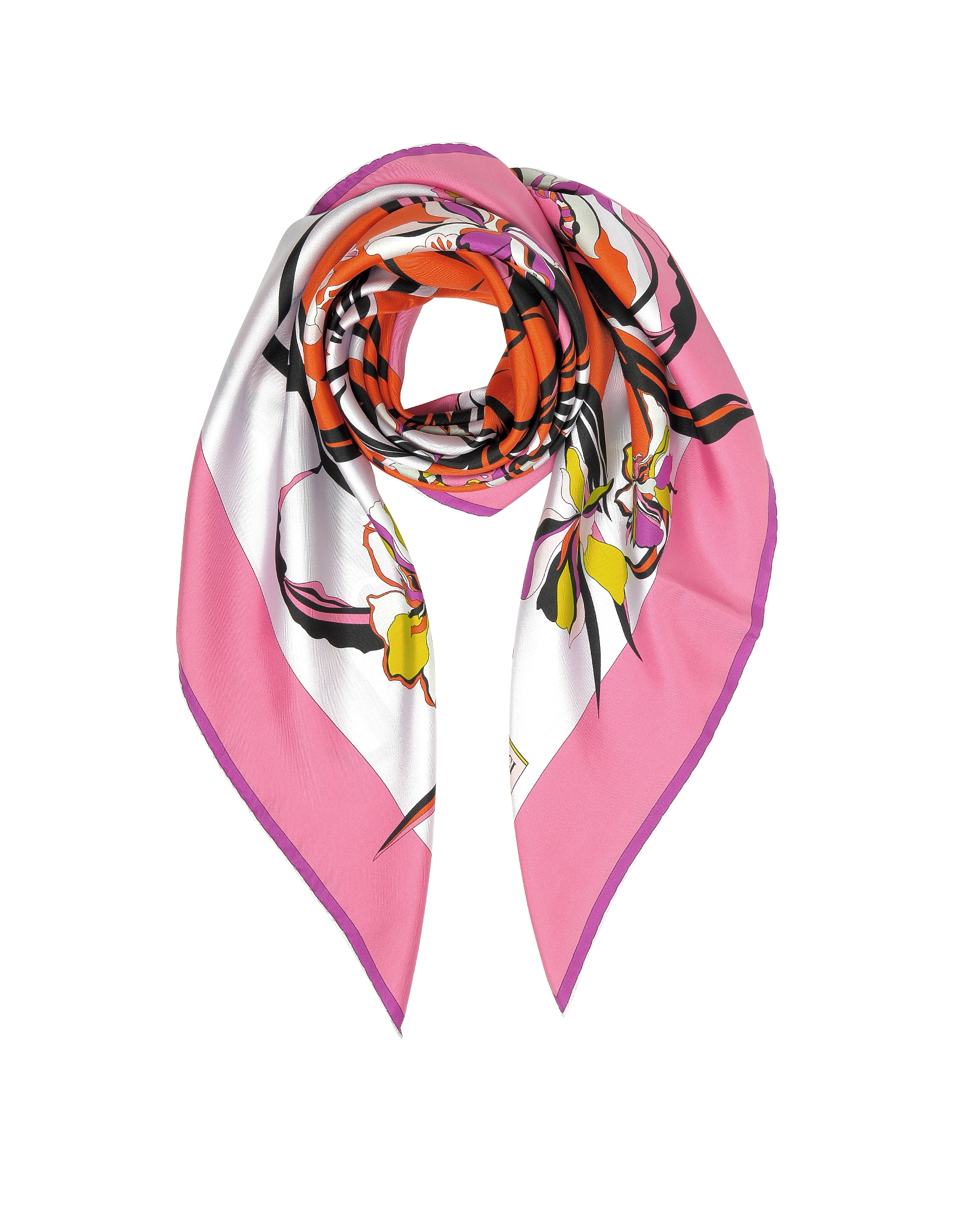 Foulard in Seta Multicolor Stampa Hanbury
