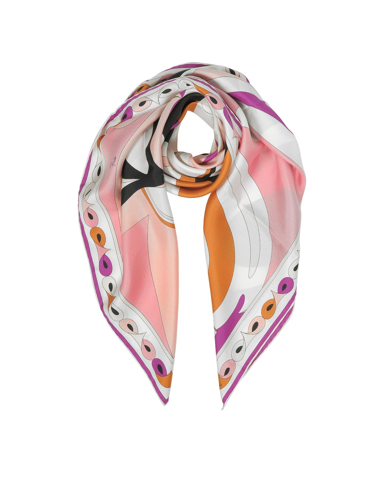 Emilio Pucci Square Scarves, Optical Print Twill Silk Square Scarf